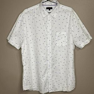 Smash Men's White Blue Leaf Print Button-Up Shirt